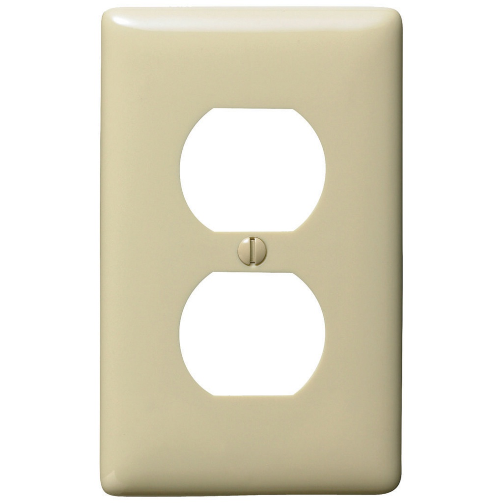 "HUBBELL NP8I Placa interruptor doble 1/8"", 1 gang, ivory"