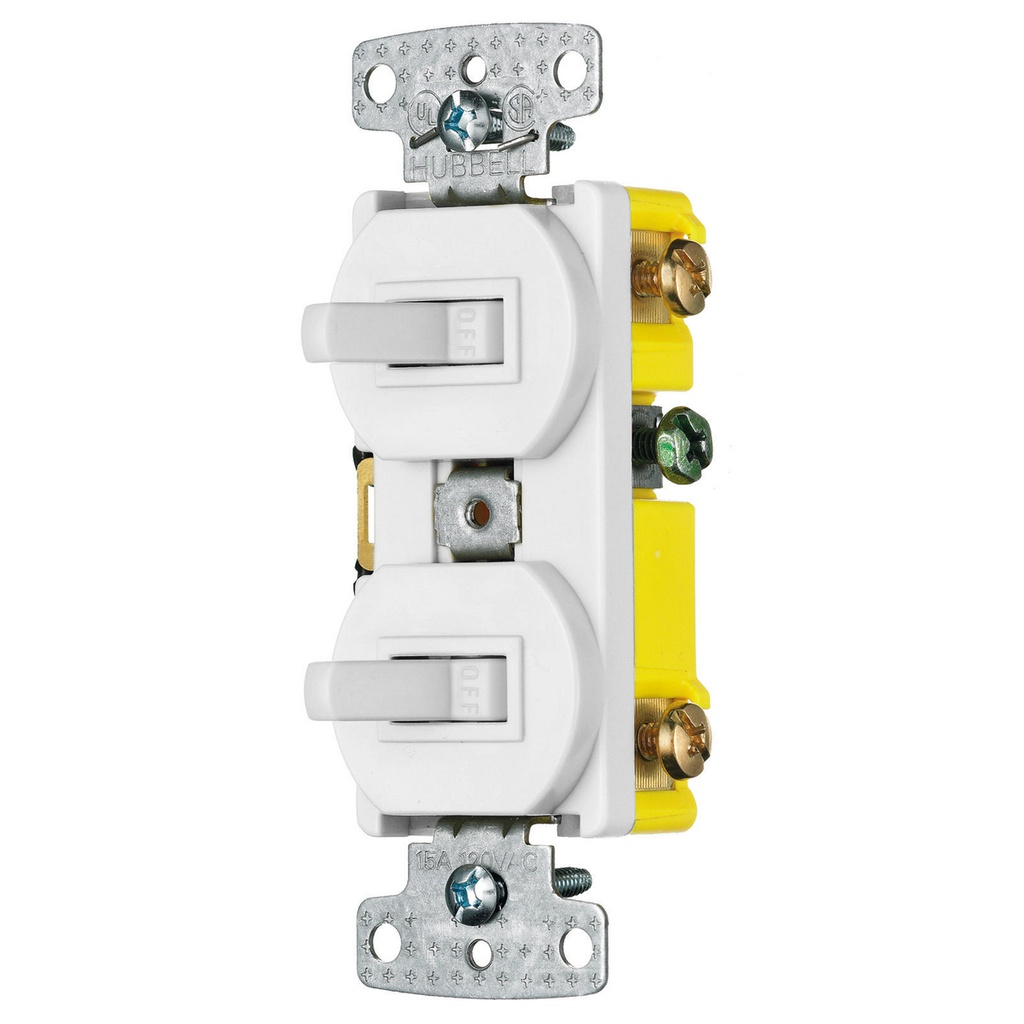 HUBBELL RC101W Interruptor doble 1P, 15A, 120V AC, blanco